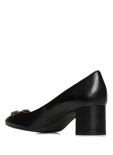 Tory Burch Hakiki Deri Kalın Topuklu Ayakkabı Siyah